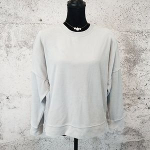 AERIE Velour Oversized Sweatshirt Grey Medium